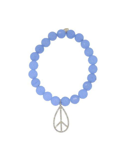Sydney Evan | Diamond Peace Sign Light Blue Jade Beaded Bracelet | Lyst