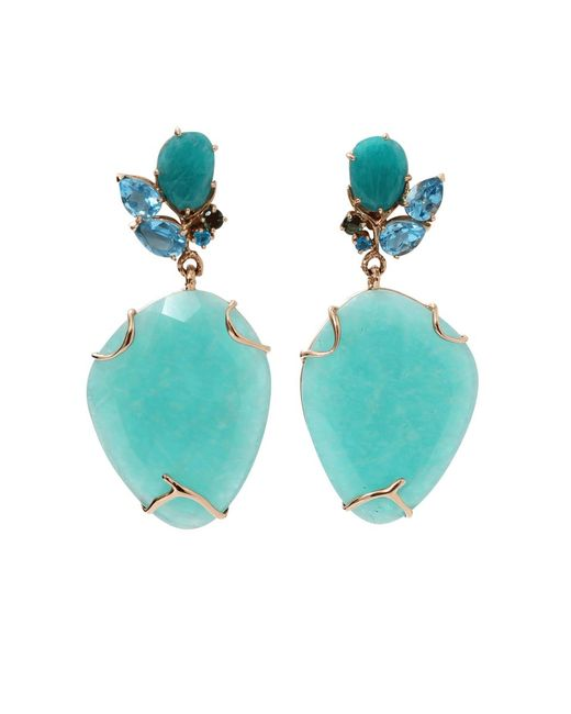 Federica Rettore | Blue Amazonite And Topaz Earrings | Lyst