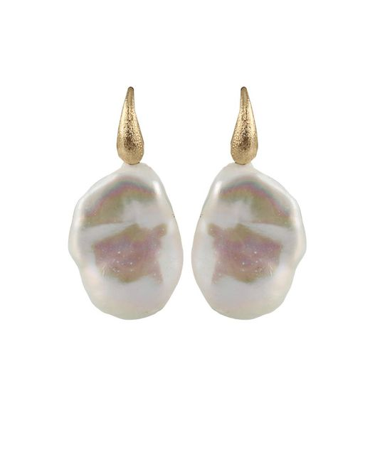 Yvel - Metallic White Baroque Fresh Water Pearl Earrings - Lyst