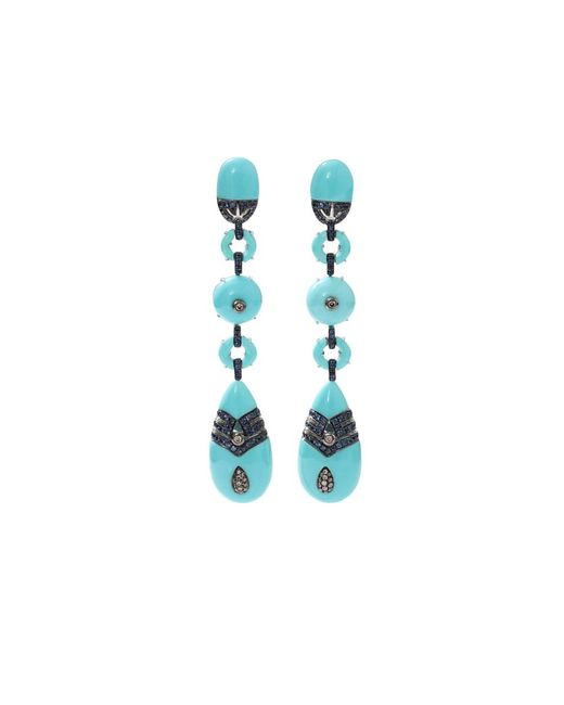Wendy Yue | Blue Turquoise And Sapphire Drop Earrings | Lyst