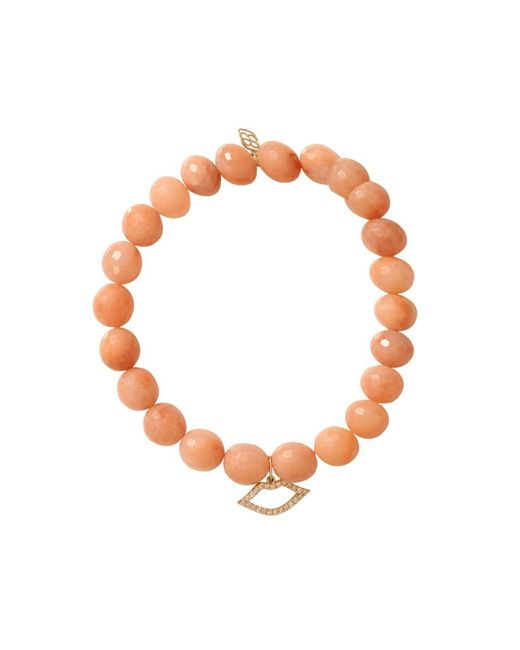 Sydney Evan | Orange Diamond Lips Beaded Bracelet | Lyst