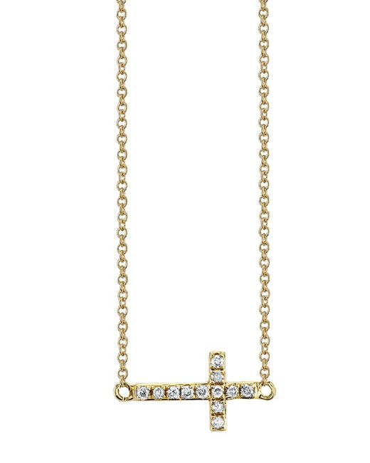 Sydney Evan   Metallic Small Diamond Cross Necklace   Lyst