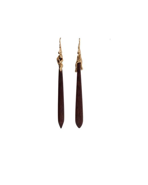 Lucifer Vir Honestus | Red Amaranth Wood Drop Earrings | Lyst