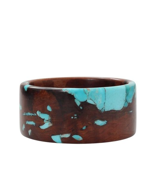 Katherine Jetter | Blue Reclaimed Pear Wood And Turquoise Bangle | Lyst