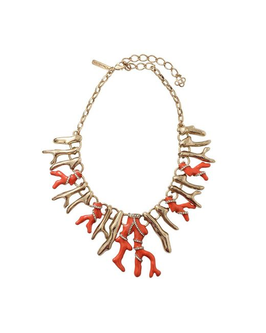 Oscar de la Renta | Red Resin Coral Necklace | Lyst