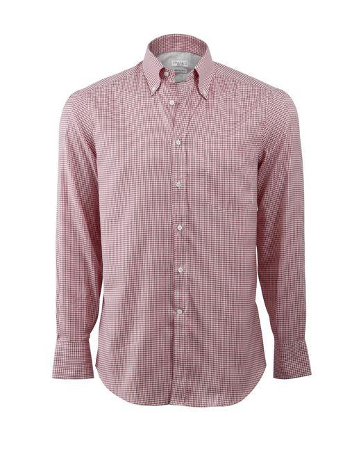 Brunello Cucinelli | Red Gingham Spread Collar Shirt for Men | Lyst