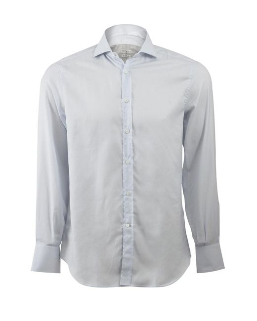 Brunello Cucinelli | Blue Window Pane Spread Collar Shirt for Men | Lyst