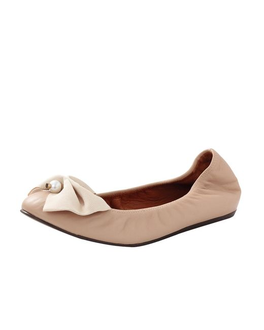 Lanvin | Pink Bow And Pearl Ballerina | Lyst