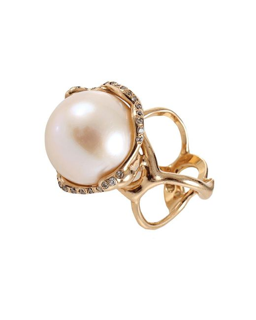 Lucifer Vir Honestus - White Fresh Water Pearl And Diamond Cocktail Ring - Lyst