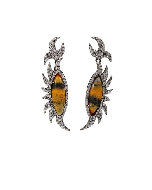Colette | White Bumble Bee Diamond Earrings | Lyst