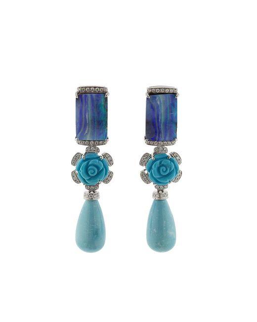 Dana Rebecca - Blue Turquoise Flower Earrings - Lyst