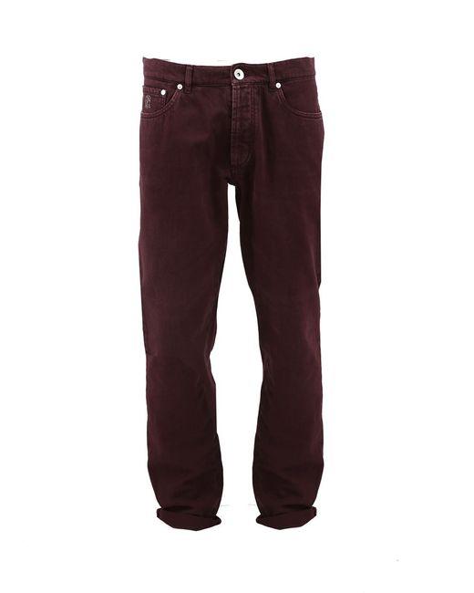 Brunello Cucinelli - Red Five Pocket Denim Pant for Men - Lyst