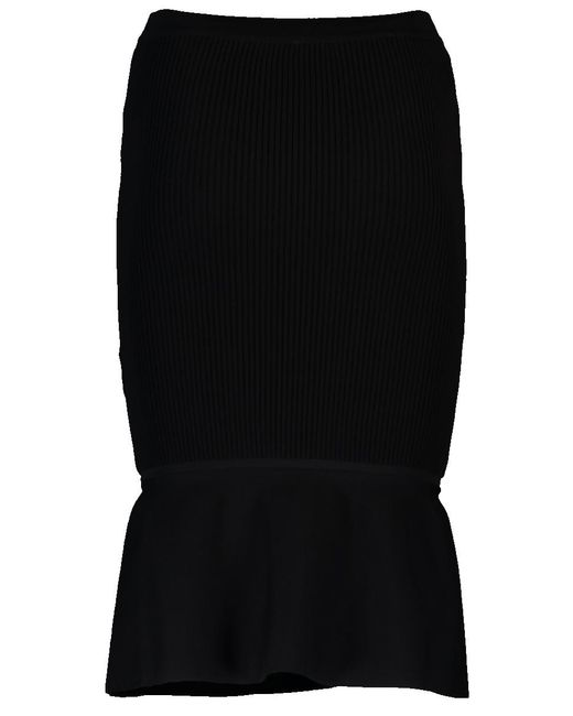Alexander Wang - Black Ribbed Skirt - Lyst