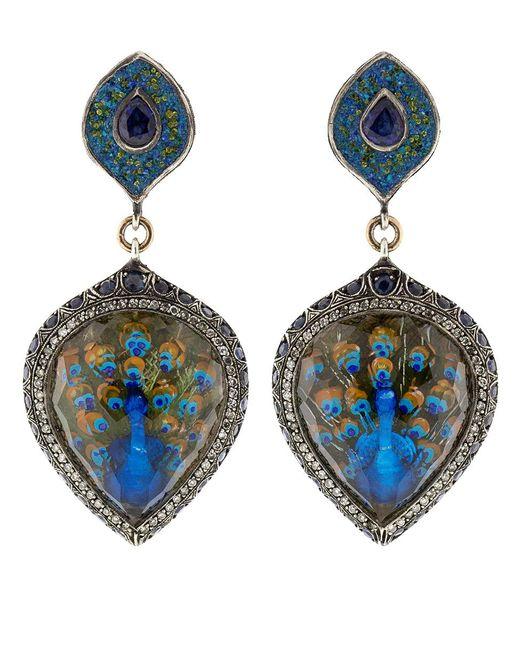 Sevan Biçakci - Blue Turquoise Mosaic Peacock Earrings - Lyst