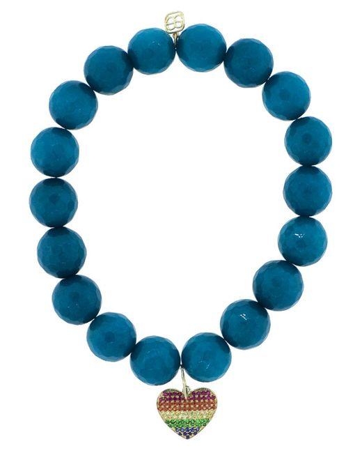 Sydney Evan - Blue Pave Rainbow Heart Charm Bracelet - Lyst