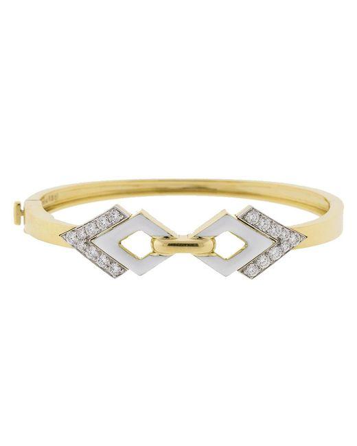 David Webb - Metallic Double Diamond And White Enamel Bracelet - Lyst