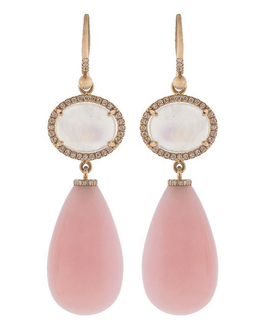 Irene Neuwirth - Rainbow Moonstone And Pink Opal Drop Earrings - Lyst