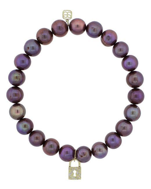Sydney Evan   Multicolor Diamond Pave Padlock Charm Bracelet   Lyst