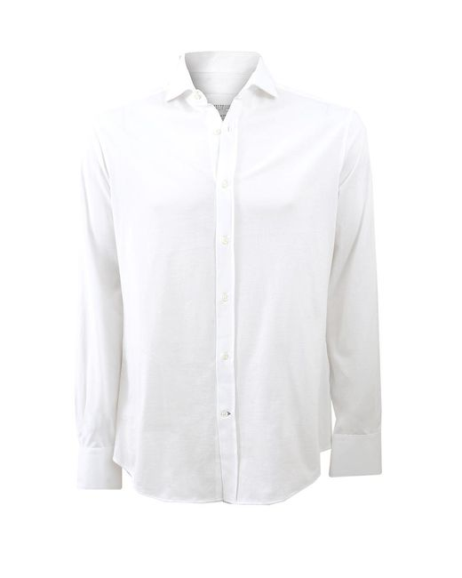 Brunello Cucinelli - White Jersey Button Down Shirt for Men - Lyst