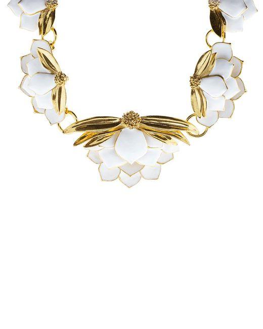 Oscar de la Renta | Metallic Painted Wild Lotus Necklace | Lyst