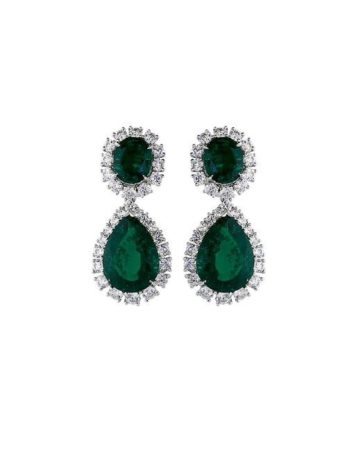 Fantasia Jewelry - Green Oval Drop Earrings - Lyst