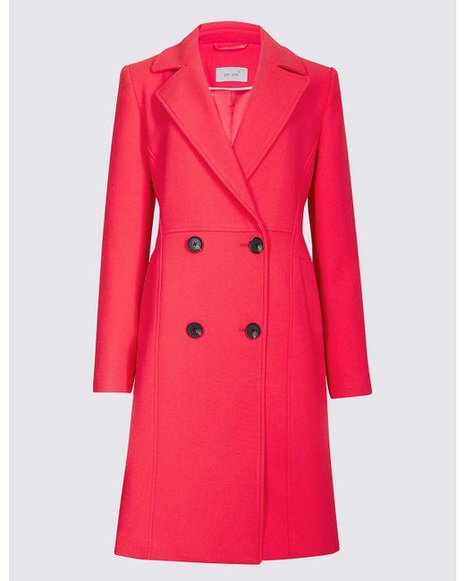Marks & Spencer - Pink Stitch Detail Textured Coat - Lyst