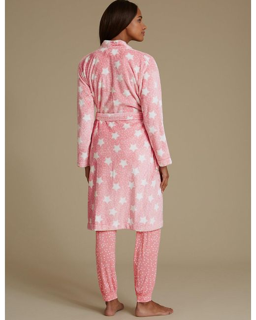 Lyst - Marks & spencer Shimmersofttm Star Print Dressing Gown in Pink