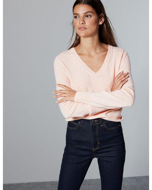 Marks & Spencer - Pink Pure Cashmere V-neck Jumper - Lyst