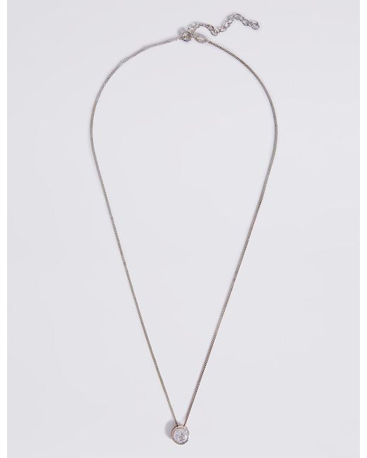 Marks & Spencer | Metallic Sterling Silver Floating Stone Diamanté Necklace | Lyst