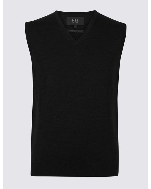 Marks & Spencer - Black Pure Merino Wool Sleeveless Jumper for Men - Lyst