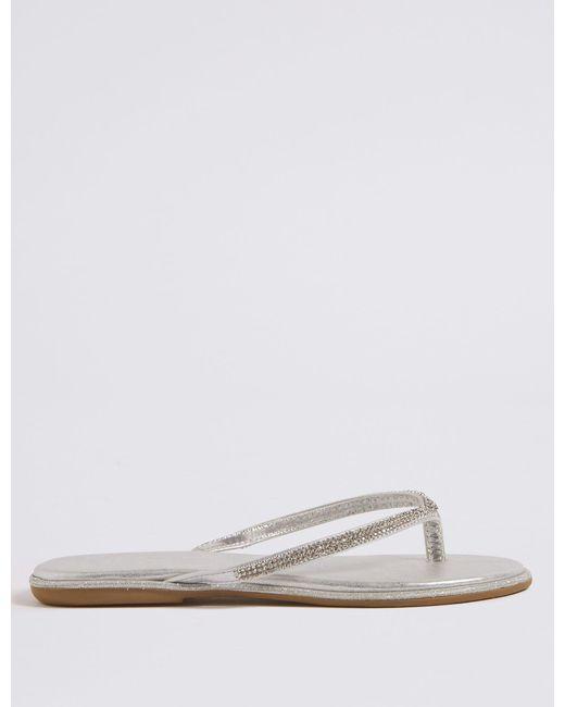 0955609641b5 Marks   Spencer Diamanté Flip-flops Sandals in Metallic - Lyst