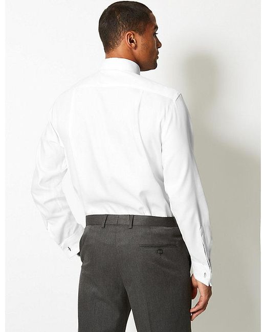 8a20596a0208 ... Marks & Spencer - White Pure Cotton Non-iron Twill Shirt for Men ...