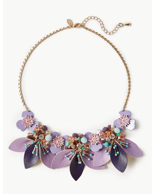 Marks & Spencer - Multicolor Petal Cluster Necklace - Lyst