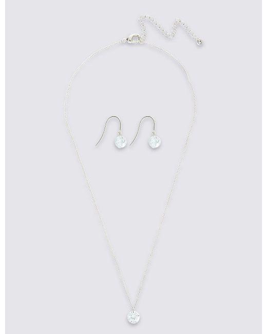 Marks & Spencer | White Floating Necklace & Stud Set | Lyst
