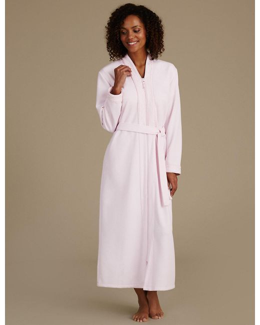 Marks & spencer Quilted Zip Through Dressing Gown in Pink | Lyst : quilted dressing gown - Adamdwight.com