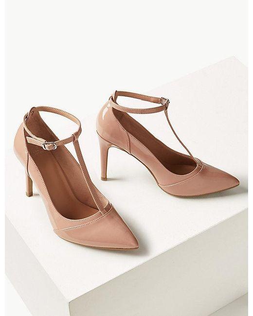 95f061262ef Marks & Spencer Stiletto Heel T-bar Court Shoes - Lyst