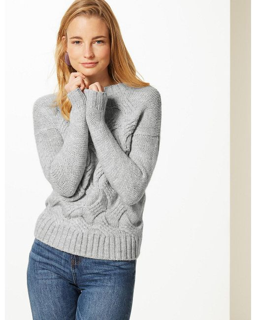 e39dcad4c08e Lyst - Marks   Spencer Textured Round Neck Jumper in Gray