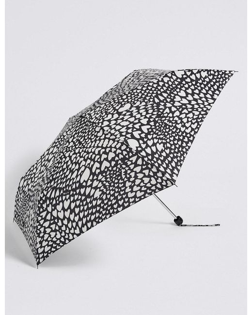 Marks & Spencer | Black Heart Print Umbrella With Stormweartm | Lyst