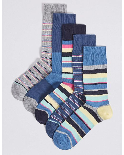 Marks & Spencer - Blue 5 Pack Cool & Freshfeettm Striped Socks for Men - Lyst