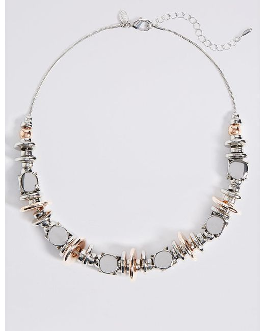 Marks & Spencer | Metallic Chunky Button Collar Necklace | Lyst
