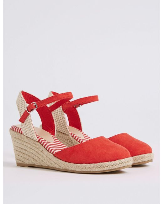 a9dc6a4ca80 ... Lyst Marks   Spencer - Red Wide Fit Wedge Heel Espadrilles ...
