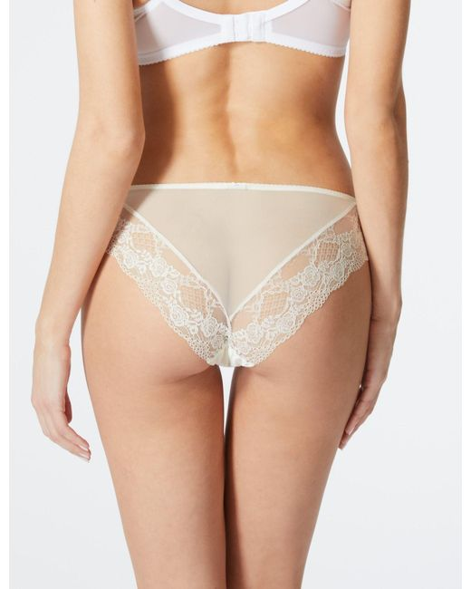 e242b3e6a481 ... Lyst Marks & Spencer - White Silk & Lace Brazilian Knickers ...