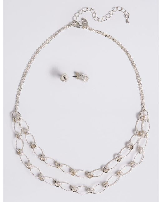 Marks & Spencer - Metallic Silver Plated Necklace & Earring Set - Lyst