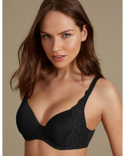 Marks & Spencer - Black Vintage Lace Padded Full Cup T-shirt Bra A-e - Lyst