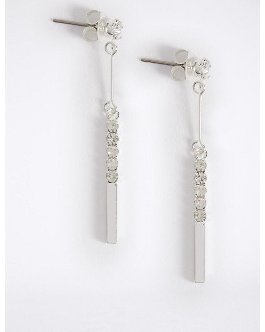 Marks & Spencer - Metallic Silver Plated Sparkle Stick Drop Earrings - Lyst