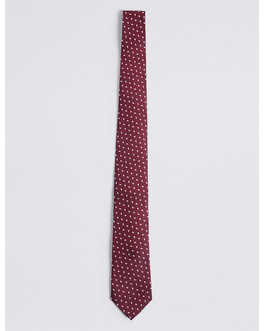 Marks & Spencer   Red Pure Silk Geo Print Tie for Men   Lyst