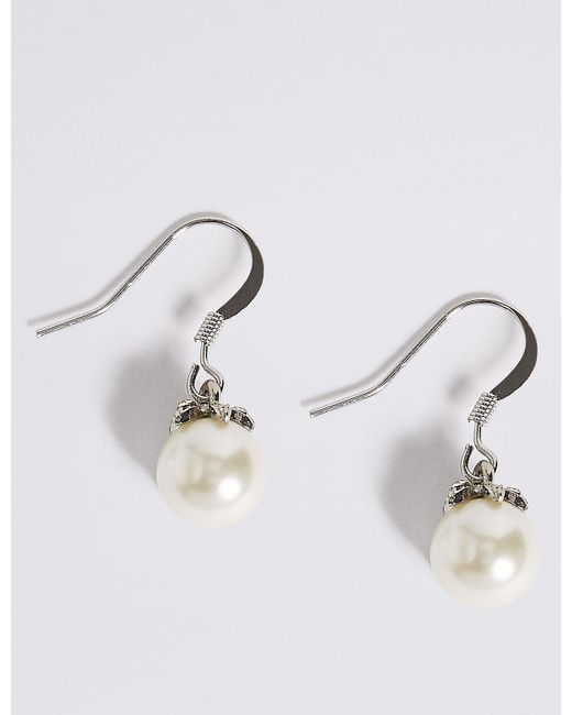 Marks & Spencer - Metallic Pearl Effect Floral Diamanté Drop Earrings - Lyst