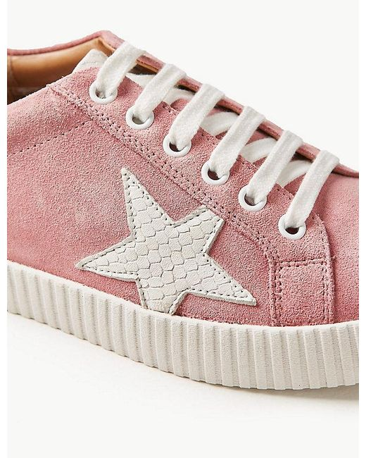 bb265d9d1b5a ... Marks & Spencer - Pink Wide Fit Leather Star Trainers ...