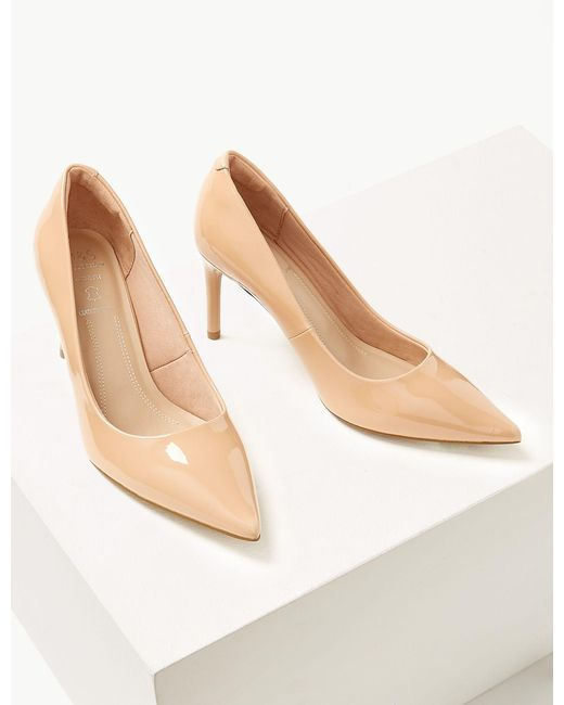 94bb8c4dabe ... Lyst Marks   Spencer - Natural Wide Fit Leather Stiletto Heel Court  Shoes ...
