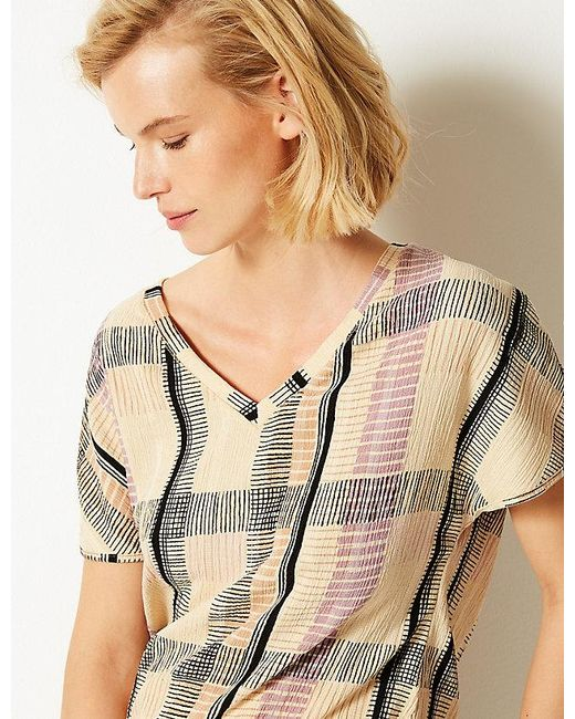 6e7853d1 ... Marks & Spencer - Natural Checked V-neck Short Sleeve Top ...